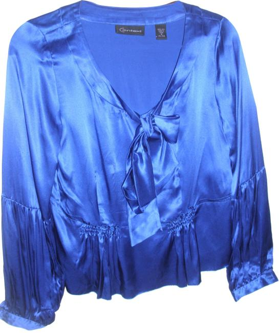 Item - Blue Pure Silk Puff Long Sleeves Ruched Blouse Size 6 (S)