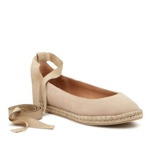 Bettye Muller Espadrille Lace-up Canvas Nude Flats
