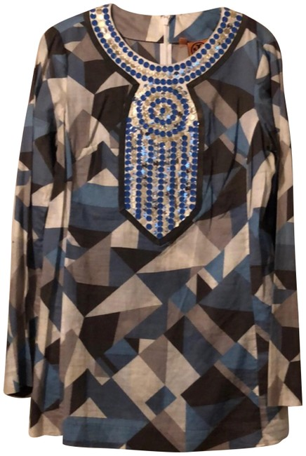 Item - Brown Powder Blue and Light Cream With Sleeves & Embellishment Tunic Size 6 (S)