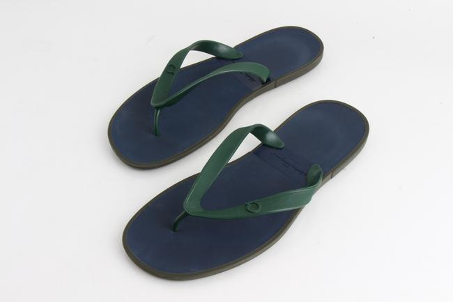 Item - Multicolor Men's Dark Ivy Blue and Green Rubber Sandals Shoes