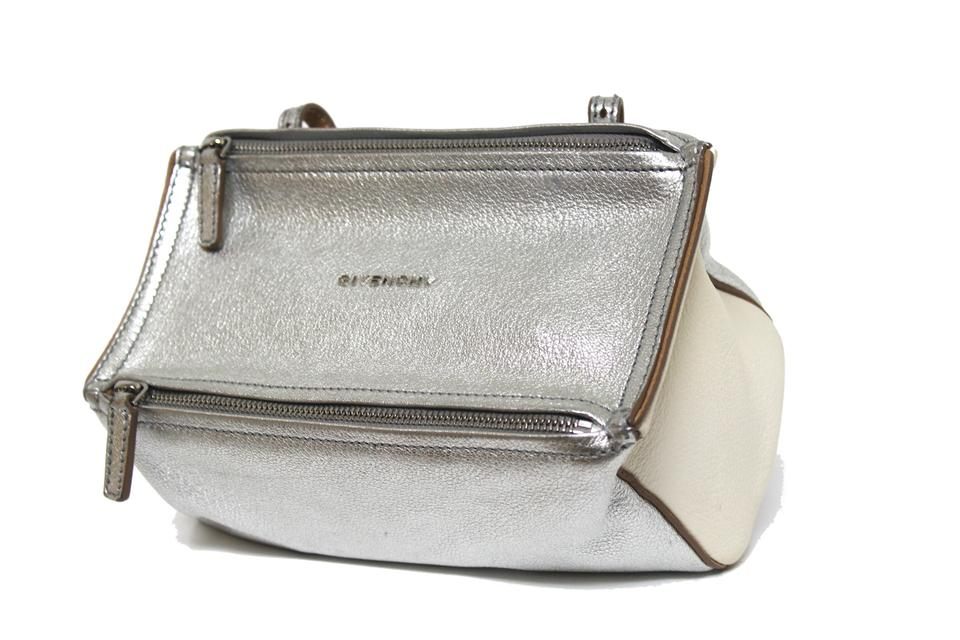 c48ce3d2f3 Givenchy New New Pandora Mini Messenger Silver Calfskin Leather Cross Body  Bag