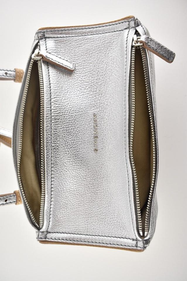 73d2537105 Givenchy New New Pandora Mini Messenger Silver Calfskin Leather ...