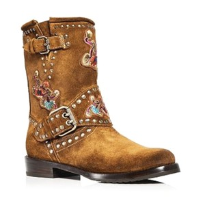 Frye Brown Nat Flower Engineer Boots Leather Booties Boots