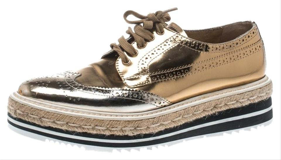 b92231bd Prada Gold Metallic Brogue Leather Wave Wingtip Espadrille Platform Derby  Sn Flats Size EU 38 (Approx. US 8) Regular (M, B) 25% off retail