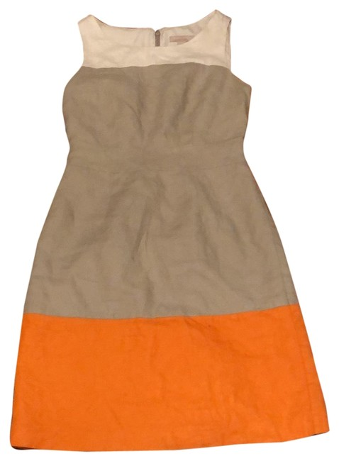 Item - Ivory Beige and Orange Linen Colorblocked Short Casual Dress Size 4 (S)
