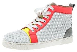 Christian Louboutin Lace Leather Spike Rubber Multicolor Flats