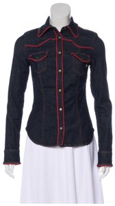 Moschino Stretchy Vintage Donna Jeans Button Down Shirt blue