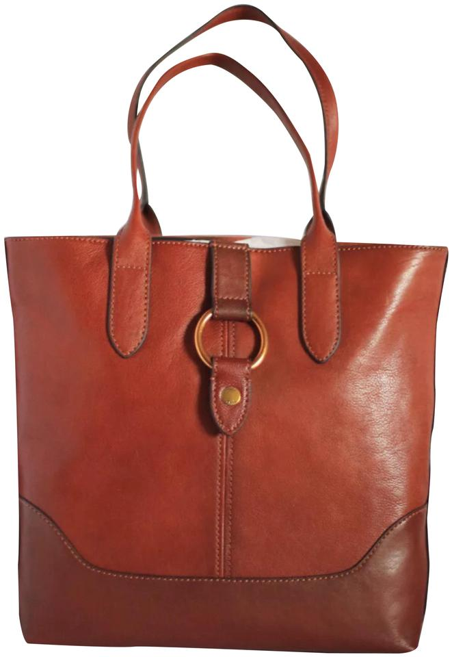 231213b6d Frye New North South Round Ring Terra Brownleather Shoulder Cognac Leather  Tote