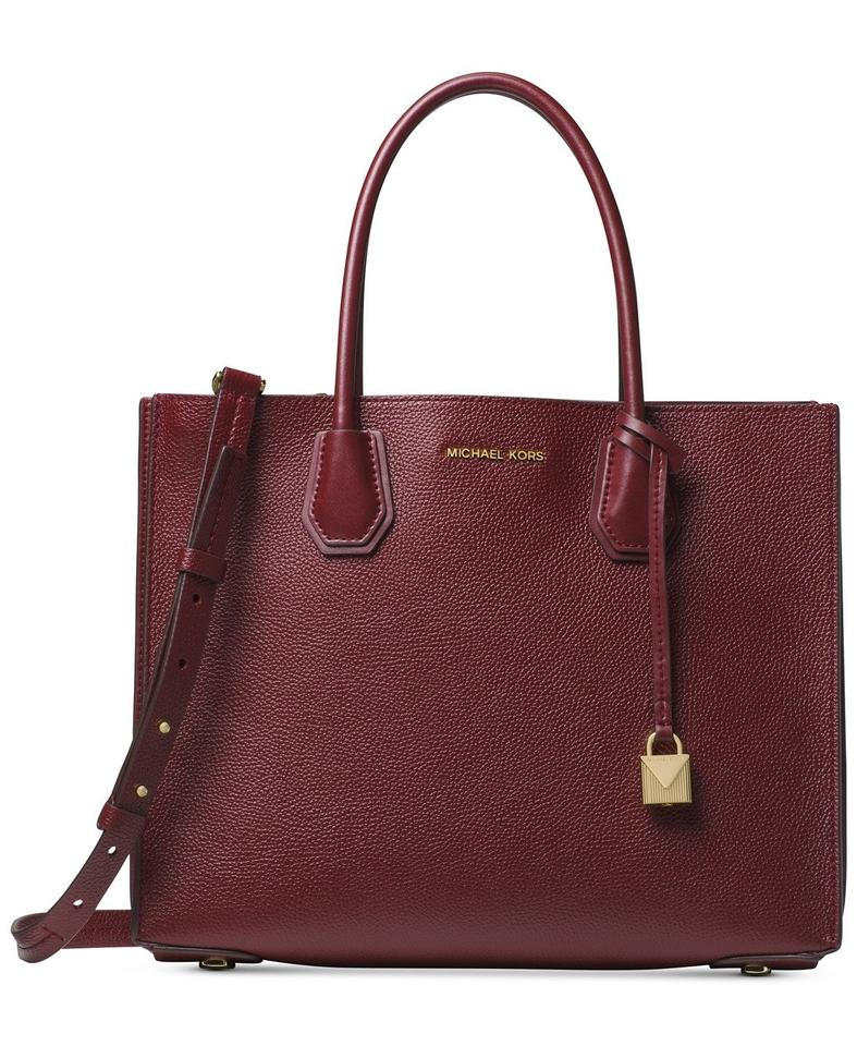afae1404720d02 Michael Kors Mercer Accordion Pebble Oxblood/Gold Leather Tote - Tradesy
