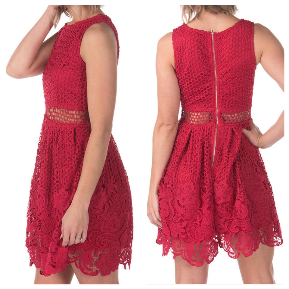 060e5b1035c84 Romeo   Juliet Couture Red Peekaboo Crochet Lace Short Night Out ...