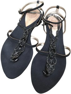 Giorgio Armani T-strap Embellished Crystals Italy Ankle Strap Black Sandals