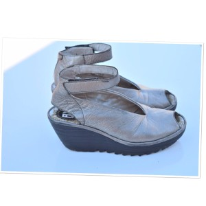 FLY London pewter Wedges