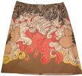Tahari Skirt tan, brown, black, white, yellow, red