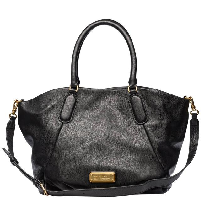 Item - New Q Fran Convertible Satchel Purse (New with Tags) Black/Gold Hardware Leather Tote