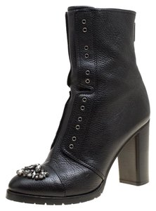 Jimmy Choo Leather Embellished Crystal Black Boots
