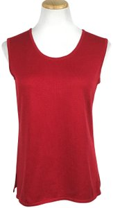 Misook Stretchy Acrylic Knit Sleeveless Scoop Neck Top Red