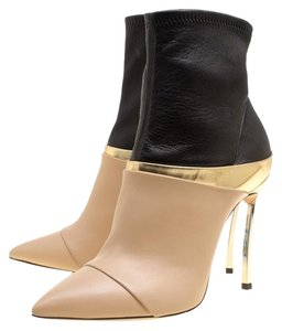 Casadei Leather Pointed Toe Beige Boots