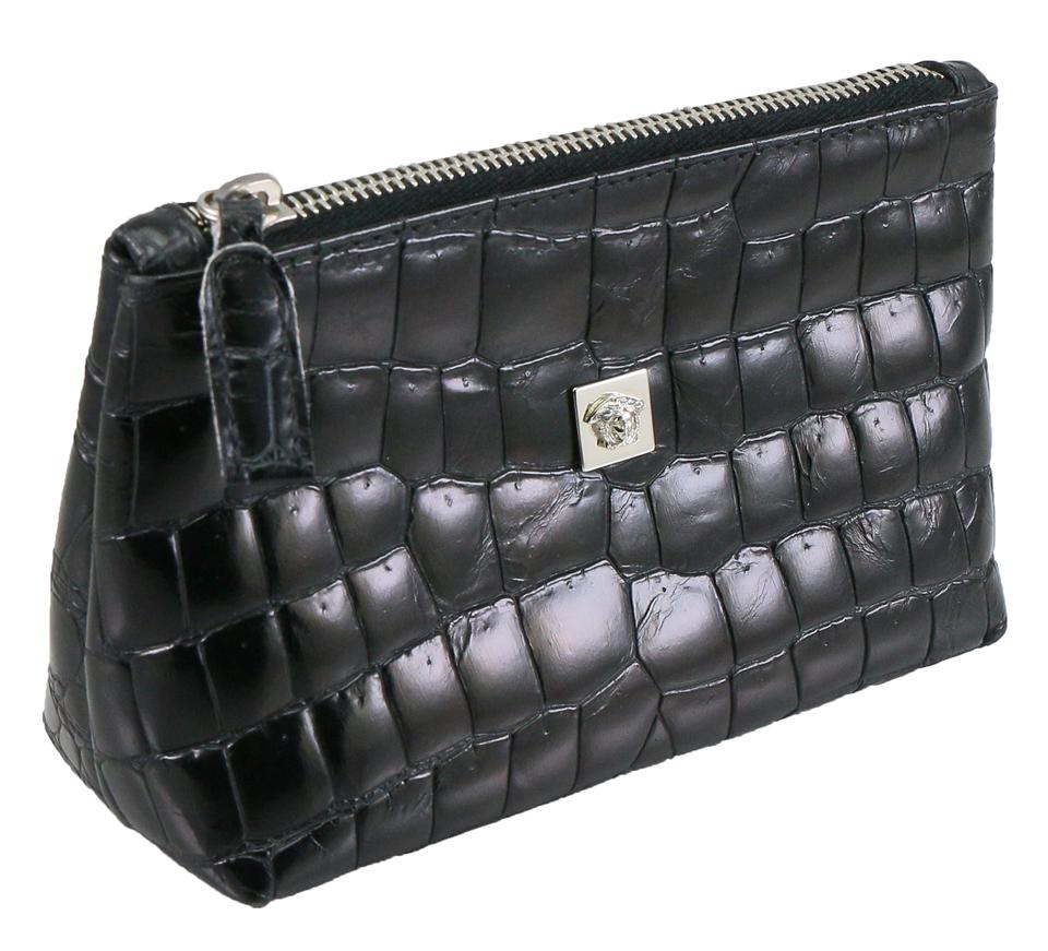 fc5591b6f2fc Versace Gianni Croc Embossed Cosmetic Pouch Black Leather Clutch ...