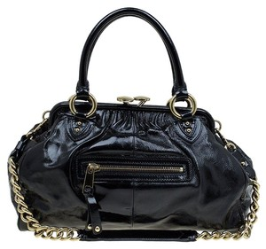 Marc Jacobs Patent Leather Glossy Accentuated Satchel in Black