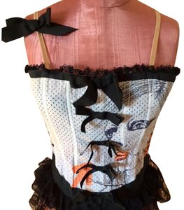 Fornarina Bustier Lace Trim Mesh Top White, Black, Coral & Nude
