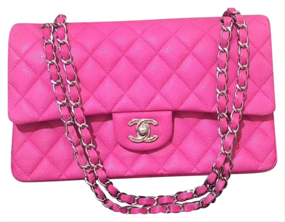 8a3167cac838 Chanel Classic Medium Double Flap Leather Silver Hardware Hot Pink ...