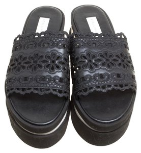 Stella McCartney Leather Embroidered Black Flats