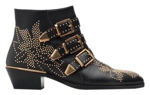 Chloé black with golden hardware Boots