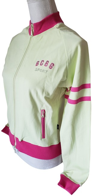 Item - Lime Green Sports Active Jacket with Bling/ Rhinestones Zip Up In and Pink Activewear Size 8 (M)