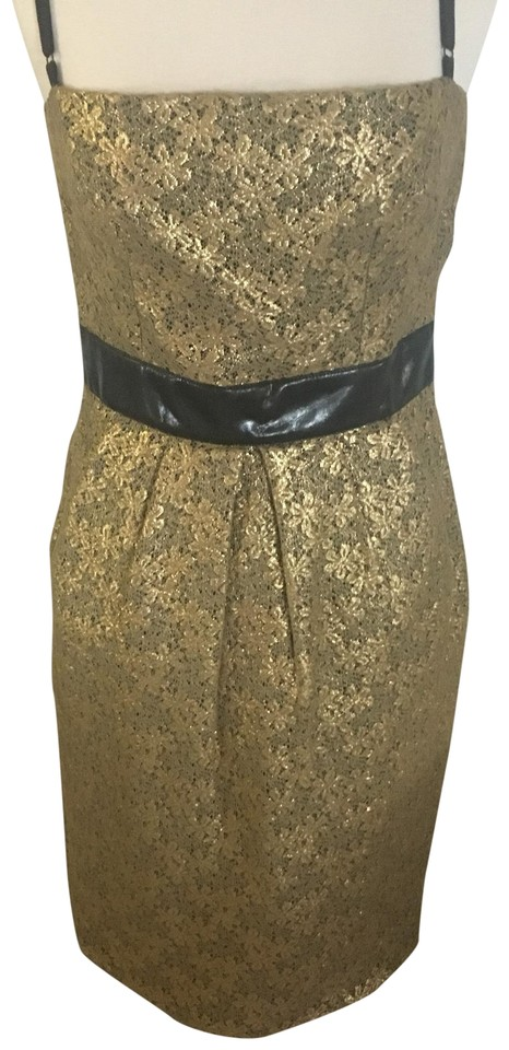 9f468034591 Dolce&Gabbana Metallic Gold Black Lace Mid-length Cocktail Dress ...