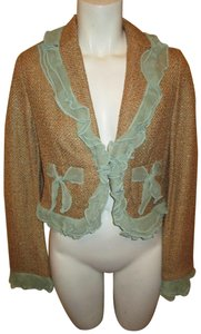 True Meaning Tweed Ruffled Cropped green & gold Blazer