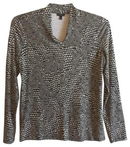 Talbots Longsleeve V-neck Stretchy Animal Print Python Top Black, White, Gray