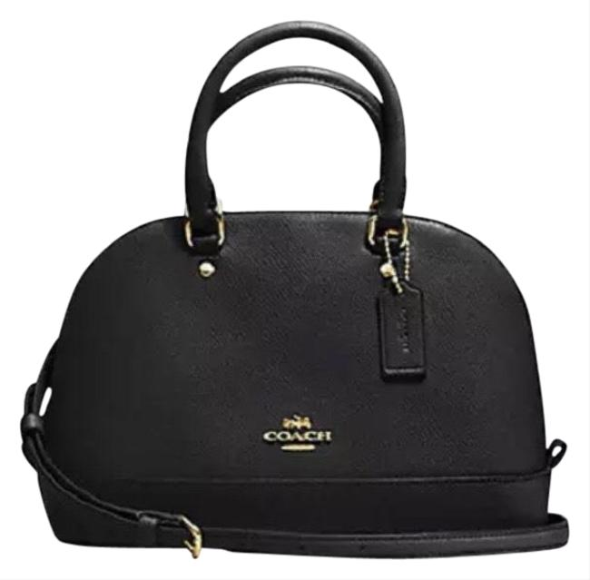 Coach Sierra F57555 Mini In Crossgrain Black Leather Satchel Coach Sierra F57555 Mini In Crossgrain Black Leather Satchel Image 1