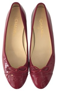 Chanel Berry Red Flats
