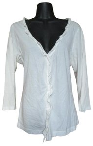 Eddie Bauer Ruffled Knit Cotton Winter Casual Button Down Shirt White