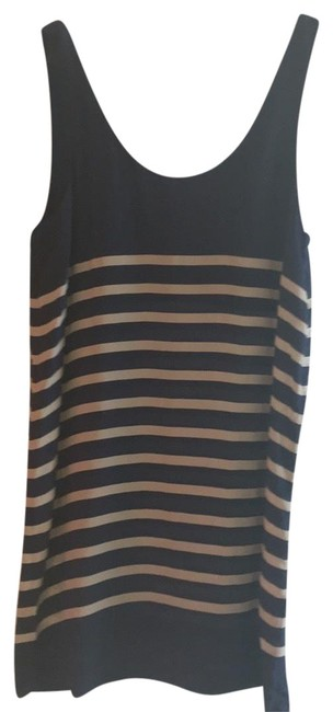 Item - Navy and Taupe Silk Slip Short Night Out Dress Size 4 (S)