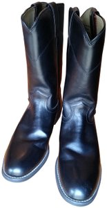 Justin Roper Cowgirl Pull On Leather Riding Black Boots