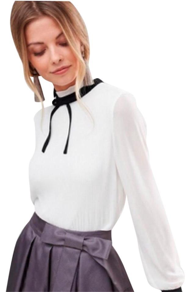 1700e55c62325a Ted Baker White Natural Niccki Pleated High Neck Blouse Size 10 (M ...