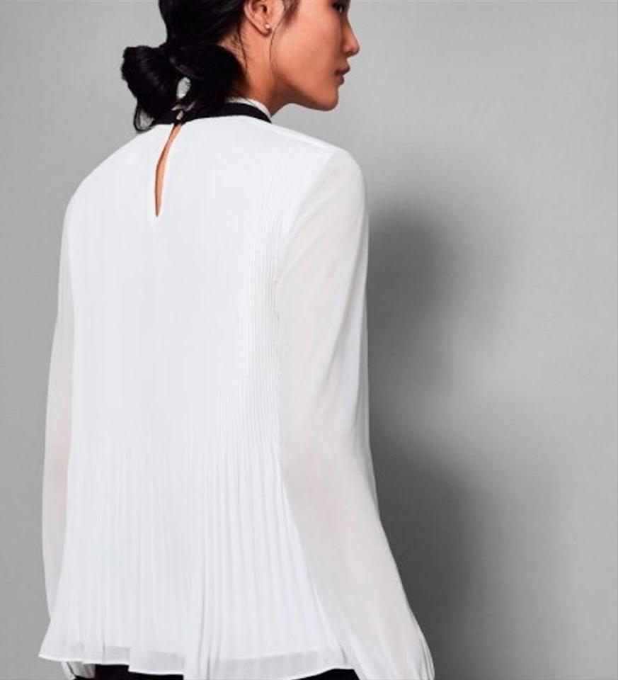 2c34b632457a57 Ted Baker White Natural Niccki Pleated High Neck Blouse Size 10 (M) -  Tradesy
