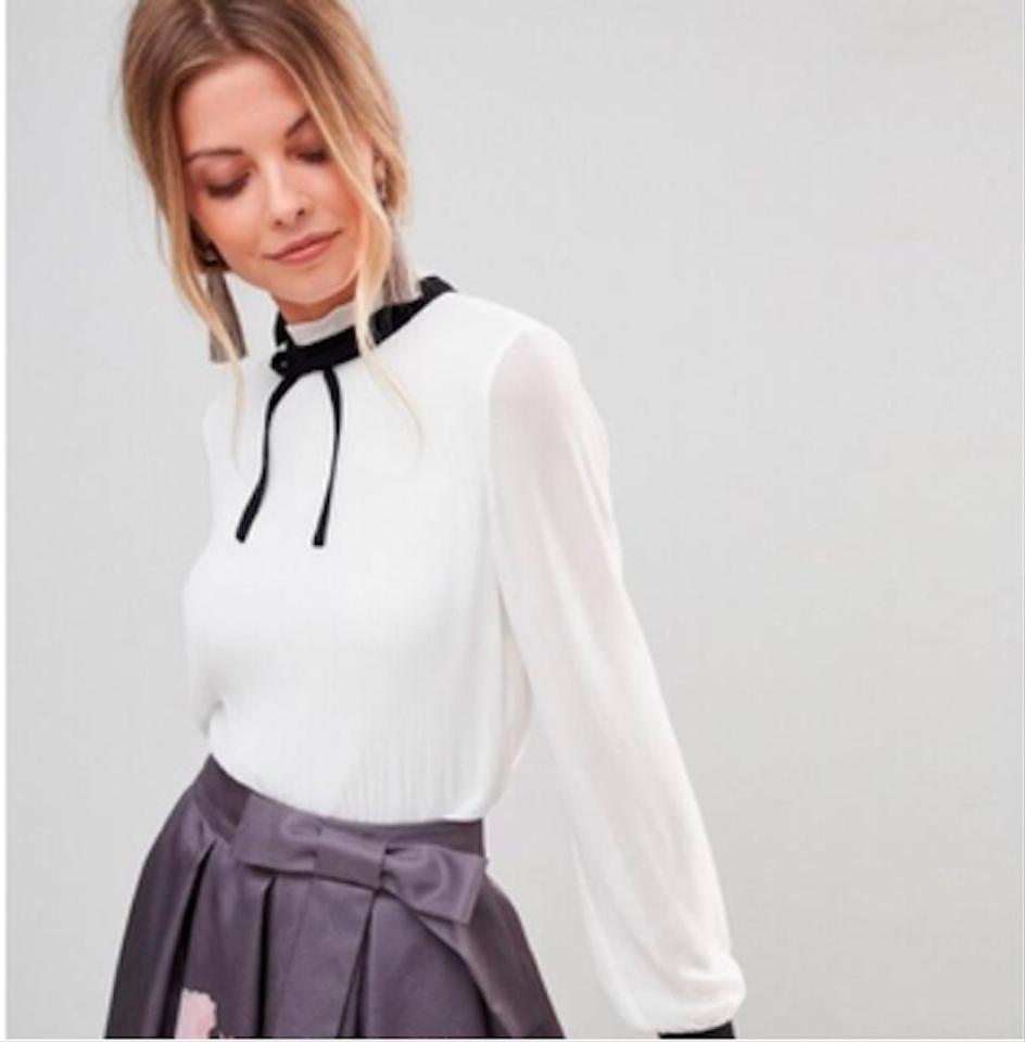 4f25440f144bde Ted Baker White Natural Niccki Pleated High Neck Blouse Size 10 (M ...