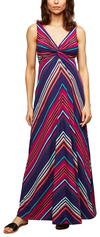 1c83bad98b9ec A Pea In The Pod A Pea In The Pod Twist Front Striped Maternity Maxi Dress  ...