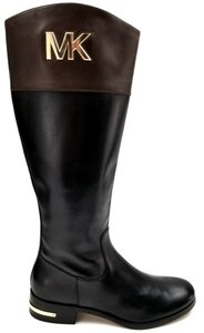 Michael Kors Leather Uppe Textile Lining Side Zip Closure Synthetic Sole Two tone Black/Brown Boots