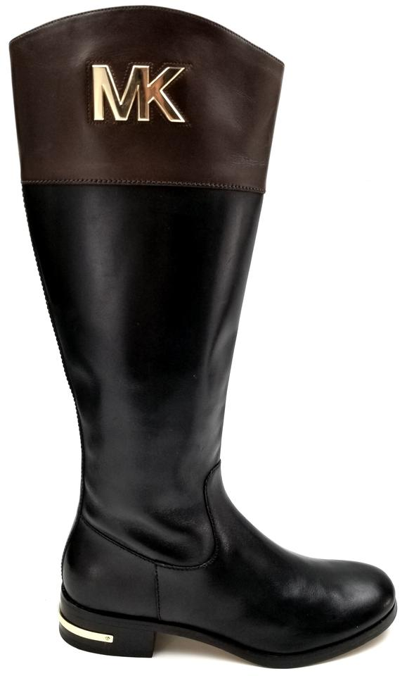 the sale of shoes buying new best wholesaler Michael Kors Two Tone Black/Brown Hayley Leather Riding Boots/Booties Size  US 4.5 Regular (M, B)