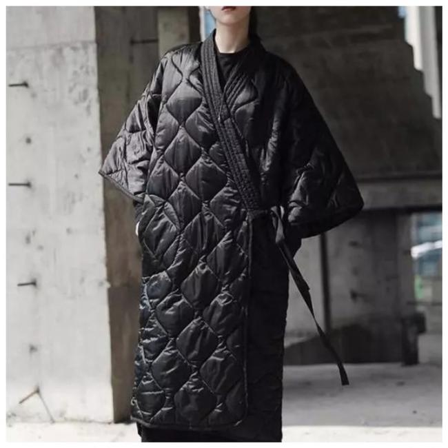 Item - Black Quilted Wrap Long Jacket Coat Size OS (one size)