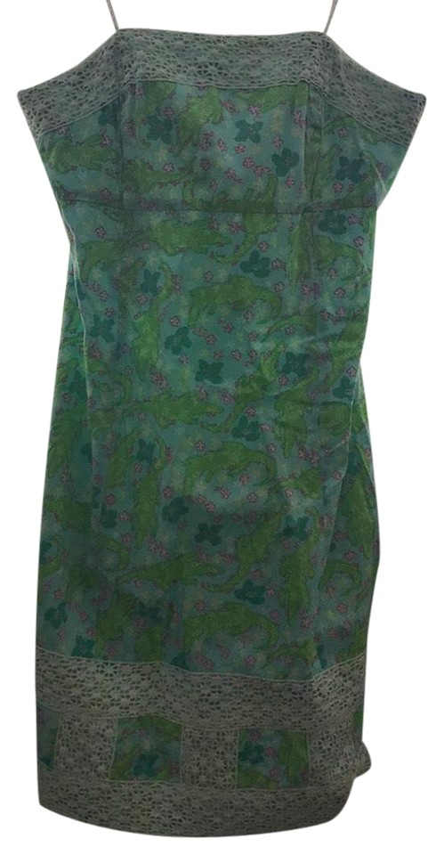 24b721f6dfc Lilly Pulitzer Blue Green White Alligator Short Casual Dress Size 4 ...