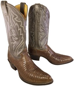 Justin Man Exotic Teju Lizard Size 9.5 D BROWN AND GRAY Boots