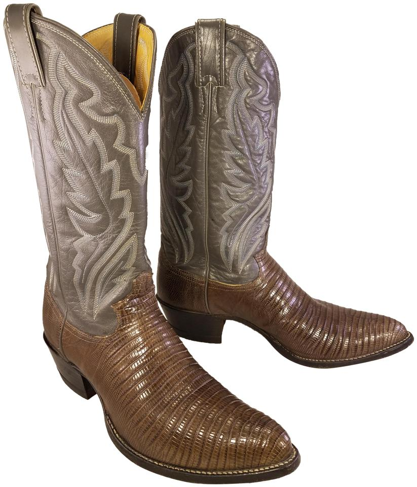 8dbd58b9239 Justin Brown and Gray 8325 Man Exotic Teju Lizard Western Cowboy  Boots/Booties Size US 9.5 Regular (M, B)