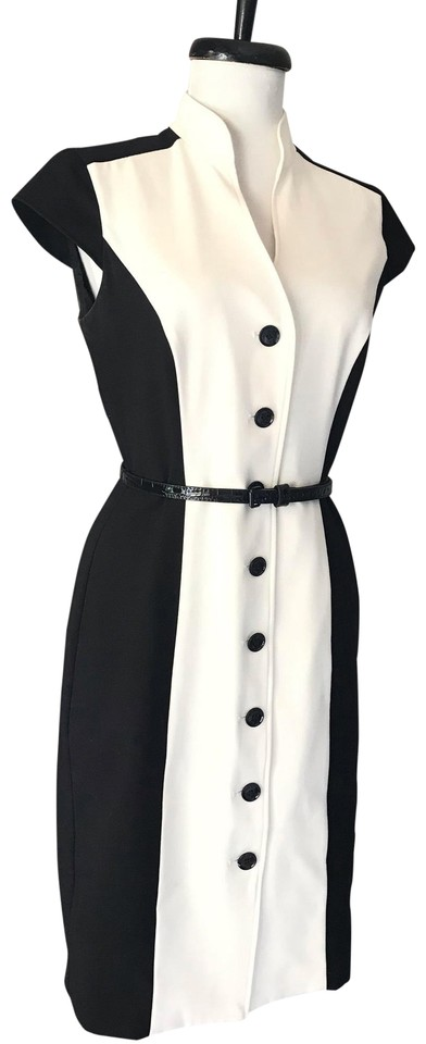 Calvin Klein Black And White Rn 54163 Short Casual Dress Size 4 S