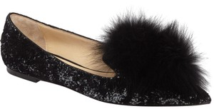Jimmy Choo Gale Fur Black Flats