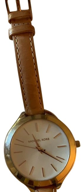 Item - Gold and Nude Leather Bracelet Tone Watch