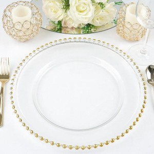 Gold Beaded Clear Glass Tableware